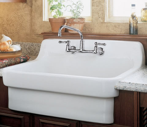 this charming sink would be ideal for casual kitchens with rustic decor features include an oversized bowl for stacking dishes and cookware - Eljer Kitchen Sinks