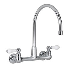American Standard Heritage Wall Mount Kitchen Faucet w/ Porcelain Lever Handles