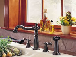 Delta Victorian Two Handle Kitchen Faucet With Spray