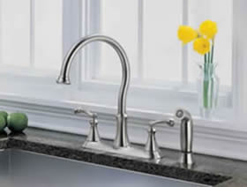 Delta Vessona Two Handle Kitchen Faucet With Spray