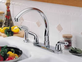 Delta Waterfall Two Handle Kitchen Faucet With Spray