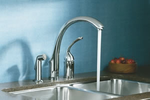 Kohler Forte Single Control Remote Valve Kitchen Sink Faucet With Sidespray And Lever Handle
