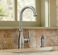 Moen 7735CSL Brantford Single Handle High Arc Kitchen Faucet with Side  Spray Stainless