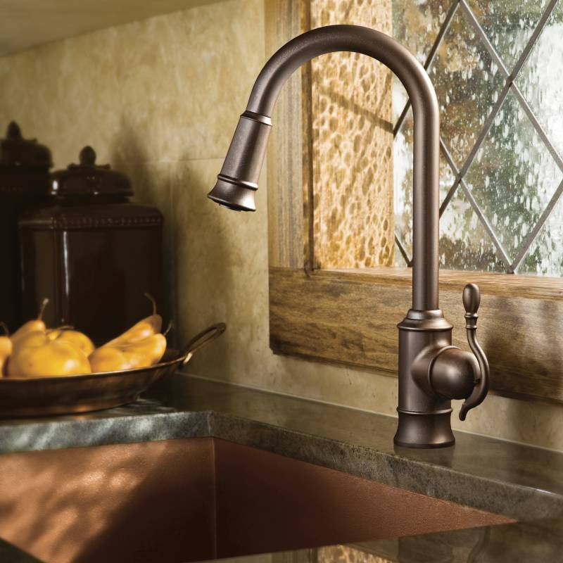 Moen S7208ORB Woodmere Single Handle/Hole High Arc Pulldown Kitchen Faucet