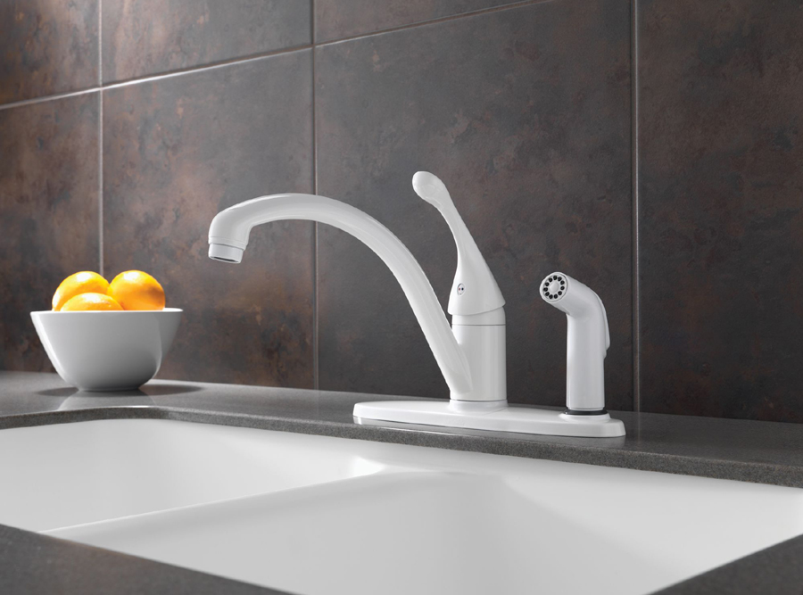 Delta 340-WH-DST Collins Single Handle Kitchen Faucet