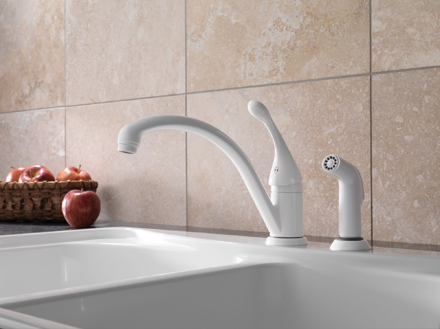Delta 441-WH-DST Collins Single Handle Kitchen Faucet