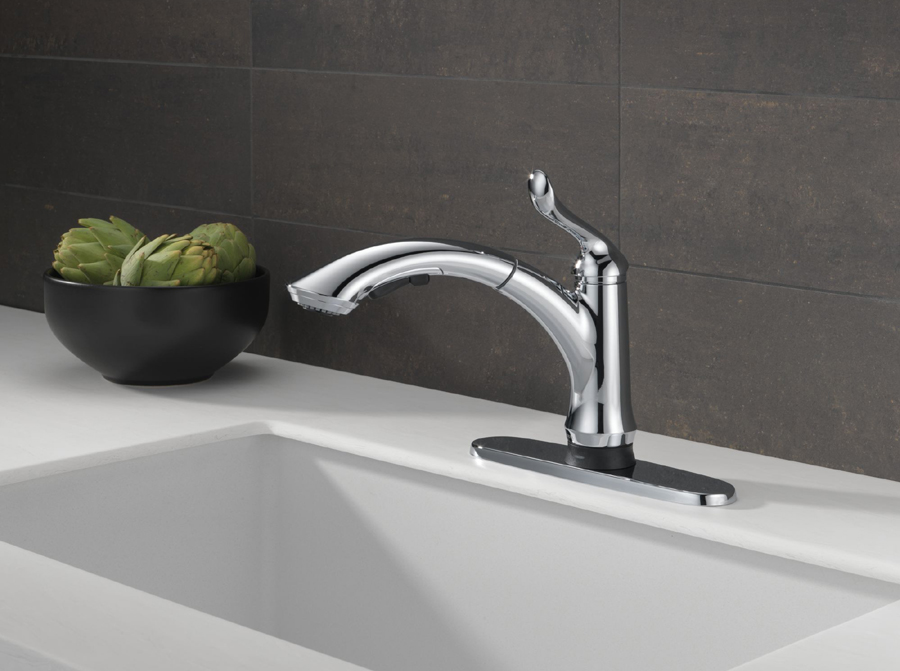 Delta 4353T-DST Linden Single Handle Pullout Kitchen Faucet with Touch2O Technology
