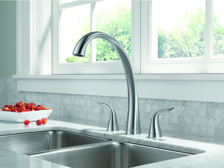 Delta 2480-AR-DST Pilar Two Handle Widespread Kitchen Faucet with Side Spray