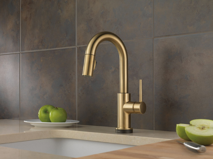 Delta 9959T-CZ-DST Trinsic Single Handle Pull-Down Bar/Prep Faucet Featuring Touch2O Technology