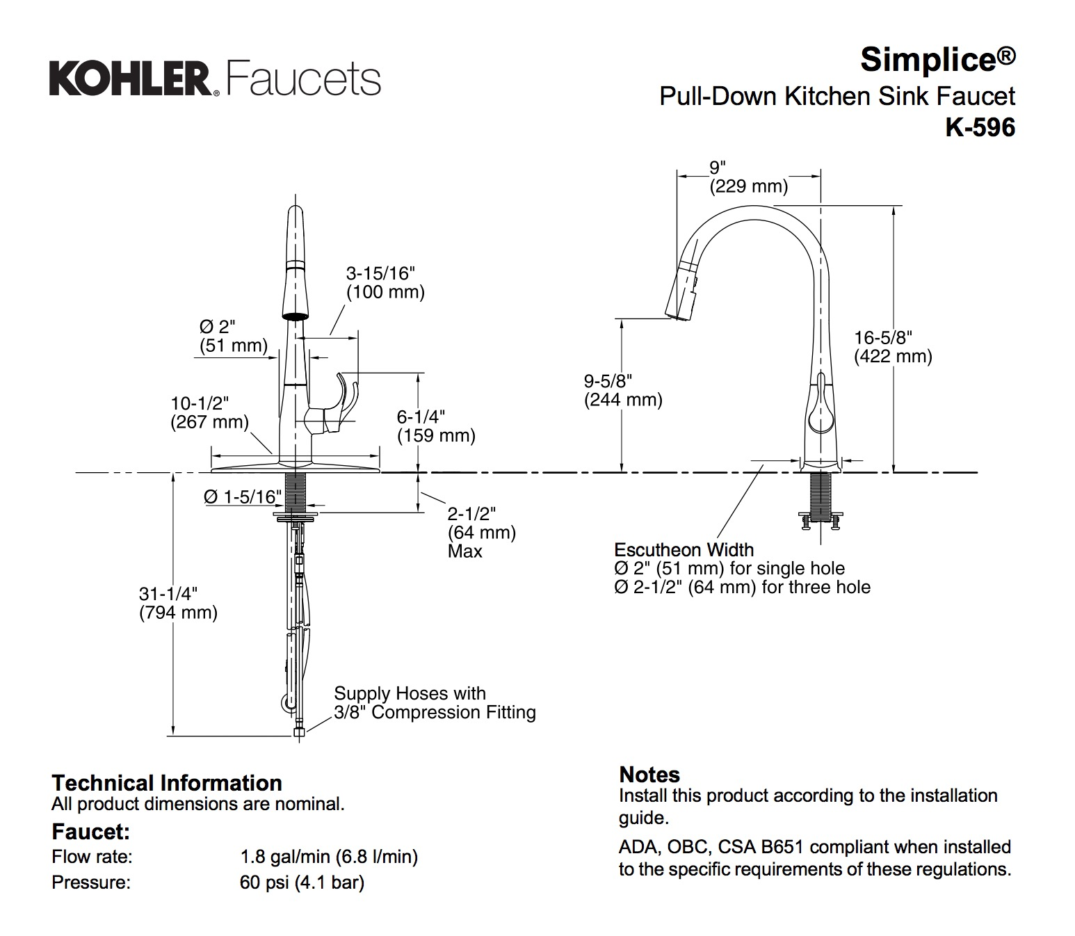 Kohler K 10433 Cp Parts List And Diagram: Kohler K-596-CP Simplice Single Hole Pulldown Kitchen