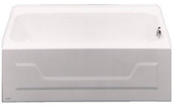 Bootz 011-2303-00 Kona 4-1/2 Foot Left Hand Drain Slip Resistant Bottom Bathtub - White