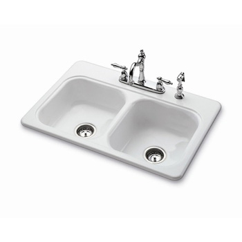 Bootz 031-2958-0K Garnet II Double Bowl Enameled Steel Kitchen Sink - White