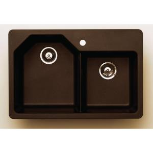 Pegasus AR20MC 35 In. x 24 In. Granite Offset Double Bowl Kitchen Sink in Metallic Chocolate