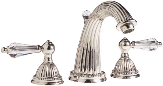 1120LC70 Santec Monarch Crystal Widspread Lavatory Faucet with Lever Handles - Polished Nickel