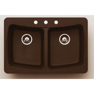 Pegasus AL20MC Granite Double Bowl Kitchen Sink - Metallic Chocolate