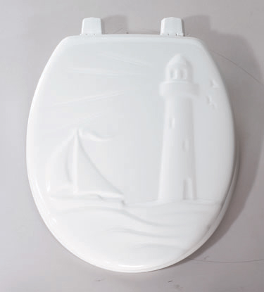 36-000 Church Round Sculptured Molded Wood Toilet Seat Lighthouse Pattern - White
