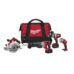 Milwaukee 2690-24 M18 4-Tool Combo Kit with Hammer Drill, Sawzall, Circular Saw, and Worklight