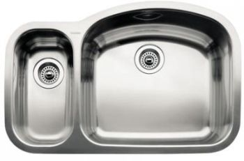Blanco 440090 BlancoWave 1-1/2 Bowl Undermount Kitchen Sink - Stainless Steel