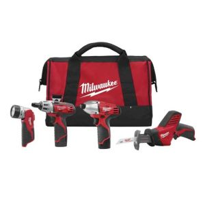 Milwaukee 2491-24 M12 12V 4-Tool Combo Kit with Hackzall, Impact Driver, Screwdriver & Work Light