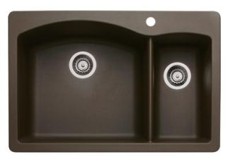Blanco 440197 Diamond 1-1/2 Bowl Drop-In Silgranit II Kitchen Sink - Cafe Brown