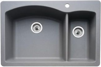 Blanco 440198 Diamond 1-1/2 Bowl Drop-In Silgranit II Kitchen Sink - Metallic Gray