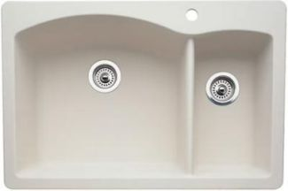 Blanco 440201 Diamond 1-1/2 Bowl Drop-In Silgranit II Kitchen Sink - Biscuit