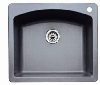Blanco 440209 Diamond Single Bowl Drop-In Silgranit II Kitchen Sink - Metallic Gray