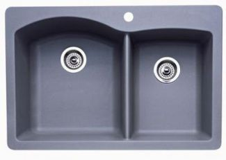 Blanco 440214 Diamond 1-3/4 Bowl Silgranit II Drop-In Kitchen Sink - Metallic Gray