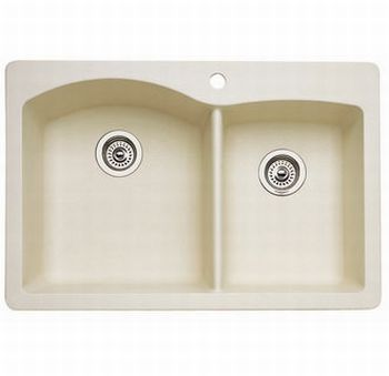 ... Blanco Diamond 1-3/4 Bowl Silgranit II Drop-In Kitchen Sink - Biscuit