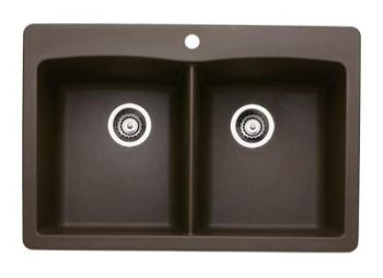 Blanco 440218 Diamond Equal Double Bowl Silgranit II Drop-In Kitchen Sink - Cafe Brown