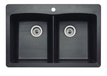 Blanco 440220 Diamond Equal Double Bowl Silgranit II Drop-In Kitchen Sink - Anthracite