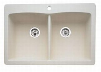 Blanco 440222 Diamond Equal Double Bowl Silgranit II Drop-In Kitchen Sink - Biscuit