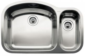 Blanco 440244 Blancowave 1-1/2 Bowl Undermount Kitchen Sink - Stainless Steel