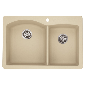 Blanco 441216 Diamond 1-3/4 Bowl Silgranit II Drop-In Kitchen Sink ...