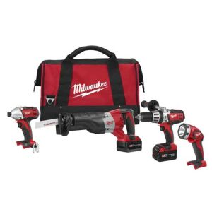 Milwaukee 2692-24 M18 4-Tool Combo Kit with Hammer Drill, Sawzall, Impact Driver, and Worklight