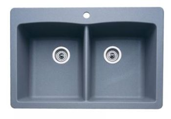 Blanco 440219 Diamond Equal Double Bowl Silgranit II Drop-In Kitchen Sink - Metallic Gray