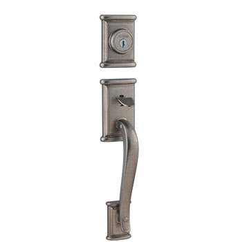 Kwikset 800ADH-LIP-502-SMT Ashfield Entry Handleset with Smartkey - Rustic Pewter