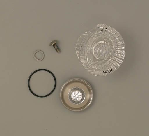 98024 Moen Knob Handle Kit for Legend Single Handle Lavatory - Clear with White and Chrome Inserts