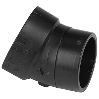 1-1/2 inch ABS DWV Plastic Fitting 22-1/2 degrees Street Elbow Spg x H