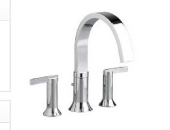 American Standard 7430.900.295 Berwick Double Lever Handle Deck Mount Tub Filler - Satin Nickel (Pictured in Chrome)