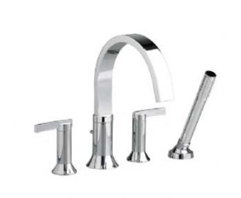 American Standard 7430.901.295 Berwick Double Lever Handle Deck Mount Tub Filler With Personal Shower - Satin Nickel