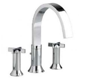 American Standard 7430.920.295 Berwick Double Cross Handle Deck Mount Tub Filler - Satin Nickel (Pictured in Chrome)