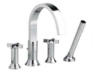American Standard 7430.921.002 Berwick Double Cross Handle Deck Mount Tub Filler With Personal Shower - Chrome