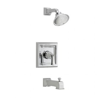 American Standard T555.522 Town Square Single Handle Tub and Shower Trim Only Less Valve, with Rain Shower Head and Diverter Tub Spout - Polished Chrome