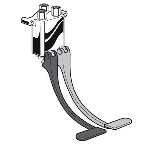 American Standard 7679.112 Wall-Mounted Self-Closing Double Pedal Valve - Polished Chrome