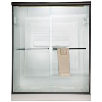 American Standard AM00370.434.006 Euro Frameless Bistro Glass ByPass Shower Doors - Brushed Nickel (Pictured in Oil Rubbed Bronze)