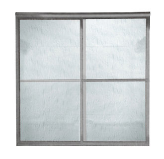 American Standard AM00790.422 Prestige Framed Rain Glass By-Pass Shower Doors - Silver (Pictured in Brushed Nickel)