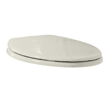 Porcher 71012-00.640 Round Front Wood Core Toilet Seat with Chrome Hinges - Antique Cherry