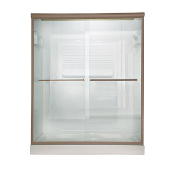 American Standard AM00345.400 Euro Frameless Clear Glass By-Pass Shower Doors - Brushed Nickel