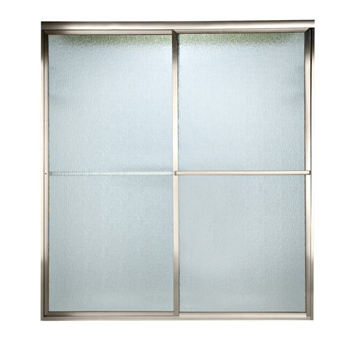 American Standard AM00770.422 Prestige Framed Rain Glass By-Pass Shower Doors - Silver (Pictured in Nickel)
